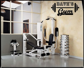 Gym with barbell and name