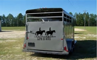 Life is Good w/horses- vinyl decal for trailer,truck, barn...